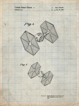 PP211-Antique Grid Parchment Star Wars TIE Fighter Patent Poster by Cole Borders