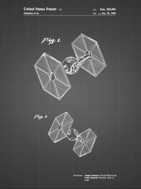 PP211-Black Grid Star Wars TIE Fighter Patent Poster by Cole Borders