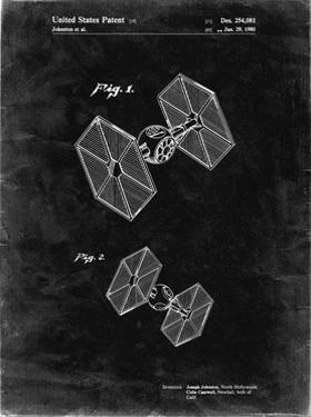 PP211-Black Grunge Star Wars TIE Fighter Patent Poster by Cole Borders