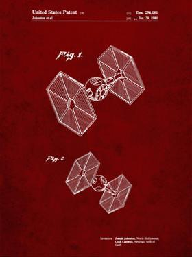 PP211-Burgundy Star Wars TIE Fighter Patent Poster by Cole Borders