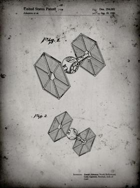 PP211-Faded Grey Star Wars TIE Fighter Patent Poster by Cole Borders