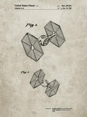 PP211-Sandstone Star Wars TIE Fighter Patent Poster by Cole Borders
