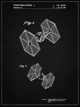 PP211-Vintage Black Star Wars TIE Fighter Patent Poster by Cole Borders