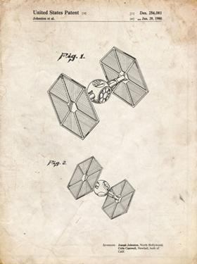 PP211-Vintage Parchment Star Wars TIE Fighter Patent Poster by Cole Borders