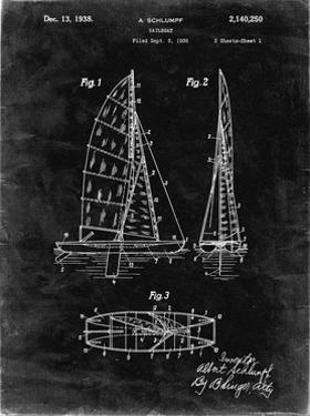 PP216-Black Grunge Schlumpf Sailboat Patent Poster by Cole Borders