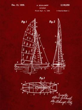 PP216-Burgundy Schlumpf Sailboat Patent Poster by Cole Borders