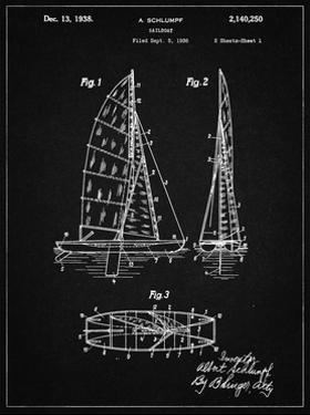 PP216-Vintage Black Schlumpf Sailboat Patent Poster by Cole Borders