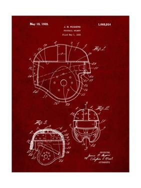 PP218-Burgundy Football Helmet 1925 Patent Poster by Cole Borders