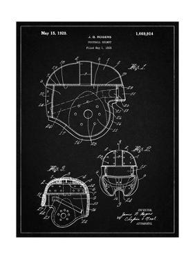 PP218-Vintage Black Football Helmet 1925 Patent Poster by Cole Borders