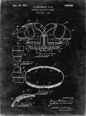 PP219-Black Grunge Football Shoulder Pads 1925 Patent Poster by Cole Borders