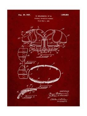 PP219-Burgundy Football Shoulder Pads 1925 Patent Poster by Cole Borders