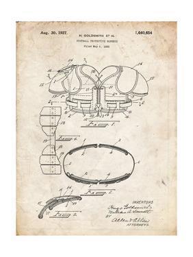 PP219-Vintage Parchment Football Shoulder Pads 1925 Patent Poster by Cole Borders