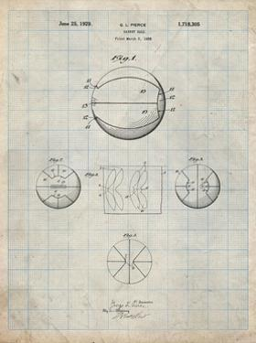 PP222-Antique Grid Parchment Basketball 1929 Game Ball Patent Poster by Cole Borders