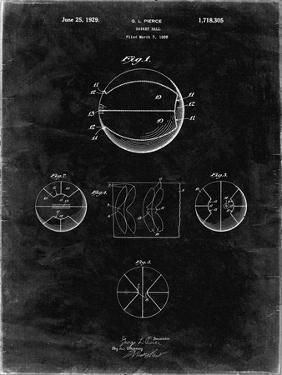 PP222-Black Grunge Basketball 1929 Game Ball Patent Poster by Cole Borders
