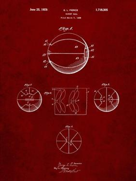PP222-Burgundy Basketball 1929 Game Ball Patent Poster by Cole Borders