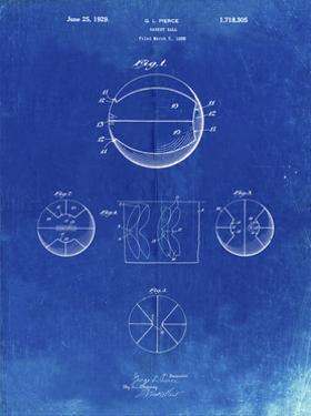 PP222-Faded Blueprint Basketball 1929 Game Ball Patent Poster by Cole Borders