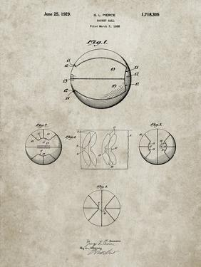 PP222-Sandstone Basketball 1929 Game Ball Patent Poster by Cole Borders