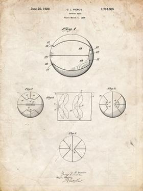 PP222-Vintage Parchment Basketball 1929 Game Ball Patent Poster by Cole Borders