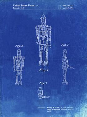 PP223-Faded Blueprint Star Wars IG-88 Patent Poster by Cole Borders