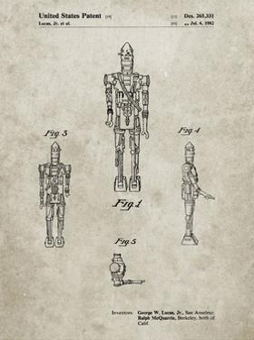 PP223-Sandstone Star Wars IG-88 Patent Poster by Cole Borders