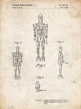 PP223-Vintage Parchment Star Wars IG-88 Patent Poster by Cole Borders