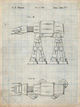 PP224-Antique Grid Parchment Star Wars AT-AT Imperial Walker Patent Poster by Cole Borders