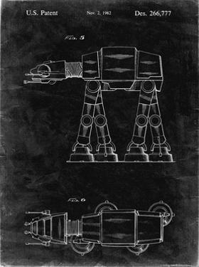 PP224-Black Grunge Star Wars AT-AT Imperial Walker Patent Poster by Cole Borders