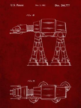 PP224-Burgundy Star Wars AT-AT Imperial Walker Patent Poster by Cole Borders