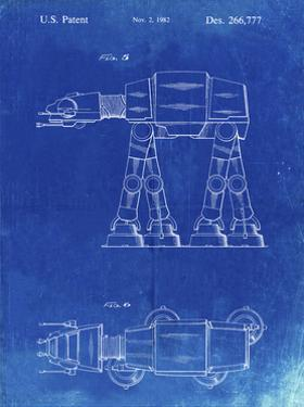 PP224-Faded Blueprint Star Wars AT-AT Imperial Walker Patent Poster by Cole Borders
