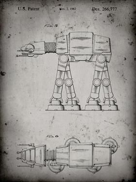 PP224-Faded Grey Star Wars AT-AT Imperial Walker Patent Poster by Cole Borders