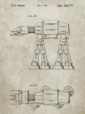 PP224-Sandstone Star Wars AT-AT Imperial Walker Patent Poster by Cole Borders