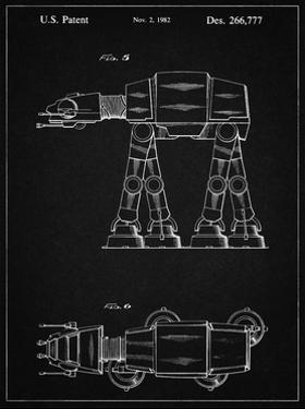 PP224-Vintage Black Star Wars AT-AT Imperial Walker Patent Poster by Cole Borders