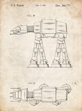 PP224-Vintage Parchment Star Wars AT-AT Imperial Walker Patent Poster by Cole Borders