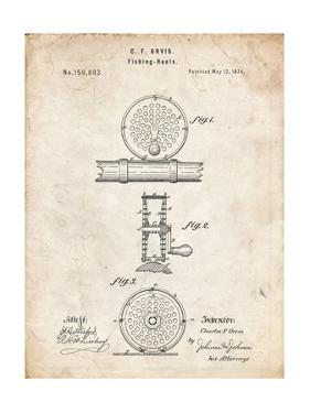 PP225-Vintage Parchment Orvis 1874 Fly Fishing Reel Patent Poster by Cole Borders