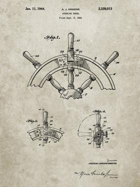 PP228-Sandstone Ship Steering Wheel Patent Poster by Cole Borders