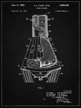 PP229-Vintage Black NASA Space Capsule 1959 Patent Poster by Cole Borders