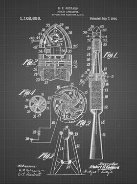 PP230-Black Grid Robert Goddard Rocket Patent Poster by Cole Borders