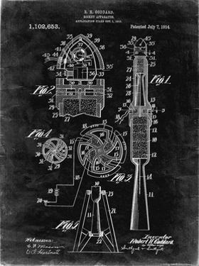 PP230-Black Grunge Robert Goddard Rocket Patent Poster by Cole Borders