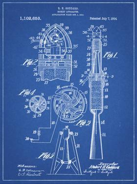 PP230-Blueprint Robert Goddard Rocket Patent Poster by Cole Borders