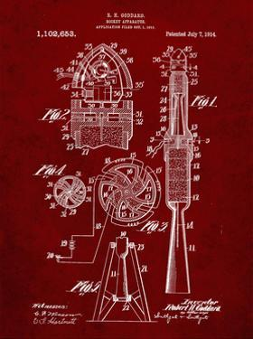 PP230-Burgundy Robert Goddard Rocket Patent Poster by Cole Borders