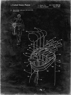 PP234-Black Grunge Golf Bag Patent Poster by Cole Borders
