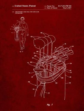 PP234-Burgundy Golf Bag Patent Poster by Cole Borders