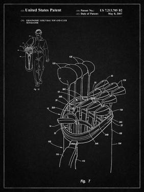PP234-Vintage Black Golf Bag Patent Poster by Cole Borders