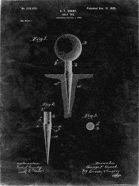 PP237-Black Grunge Vintage Golf Tee 1899 Patent Poster by Cole Borders