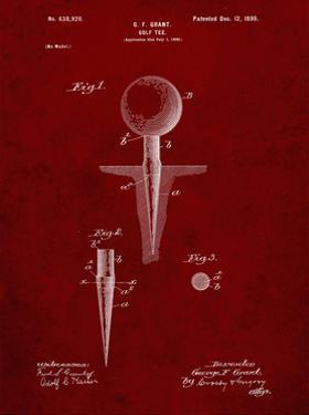 PP237-Burgundy Vintage Golf Tee 1899 Patent Poster by Cole Borders
