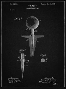 PP237-Vintage Black Vintage Golf Tee 1899 Patent Poster by Cole Borders