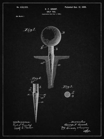 PP237-Vintage Black Vintage Golf Tee 1899 Patent Poster