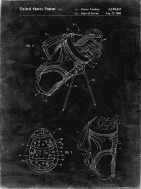 PP239-Black Grunge Golf Walking Bag Patent Poster by Cole Borders