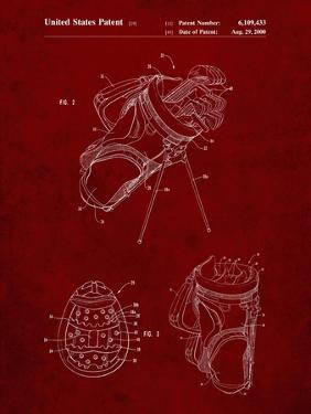 PP239-Burgundy Golf Walking Bag Patent Poster by Cole Borders