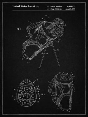 PP239-Vintage Black Golf Walking Bag Patent Poster by Cole Borders